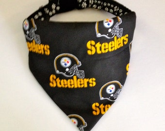 No-Tie, Slip Over Collar Dog Bandana, Pittsburgh Steelers Fabric (collar not included)
