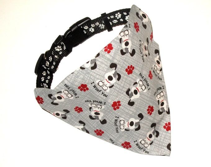 Gray Dog Bandana, No-Tie, Slip Over Collar, Tossed I Woof You fabric