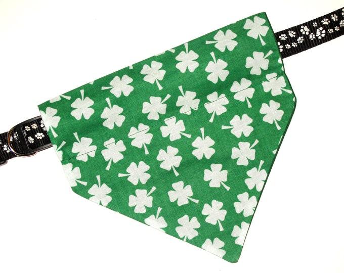 St Patrick's Day Dog Bandana, No-Tie, Slip Over Collar, Tossed White Shamrock on Green