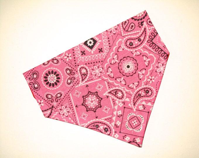 Pink Dog Bandana, No-Tie, Slip Over Collar, Pink Classic Bandana Print (collar not included)