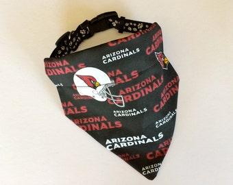 No-Tie, Slip Over Collar Dog Bandana, Arizona Cardinals Fabric (collar not included)