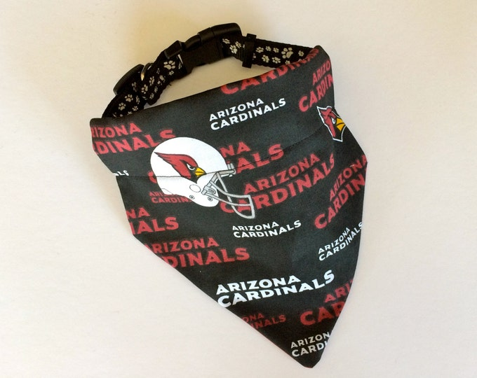 No-Tie, Slip Over Collar Dog Bandana, Arizona Cardinals Fabric