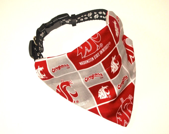 No-Tie, Slip Over Collar Dog Bandana, Washington State Univ. (collar not included)