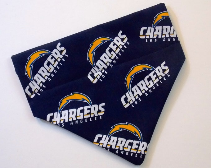 No-Tie, Slip Over Collar Dog Bandana, Los Angeles Chargers team Fabric (collar not included)