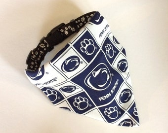 No-Tie, Slip Over Collar Dog Bandana, Penn State University, Classic Square Fabric (collar not included)