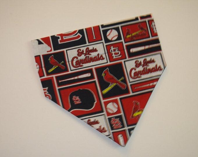 No-Tie, Slip Over Collar Dog Bandana, St Louis Cardinals Fabric (collar not included)