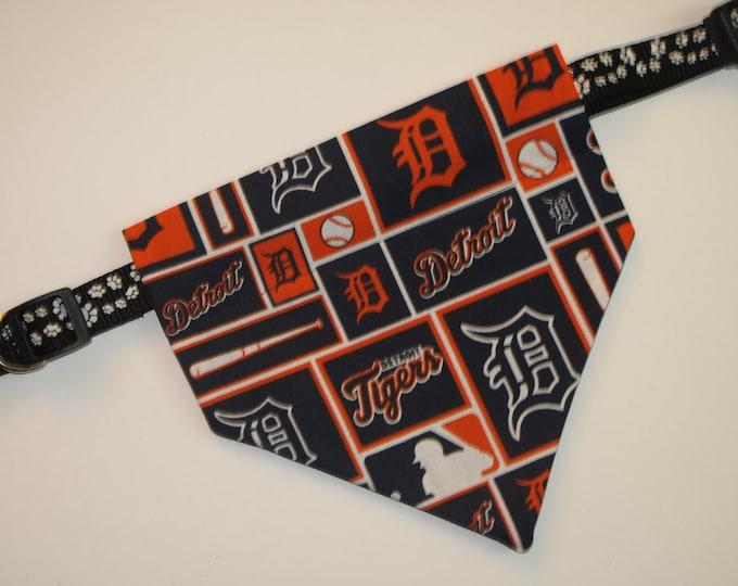 No-Tie, Slip Over Collar Dog Bandana, Detroit Tigers Fabric