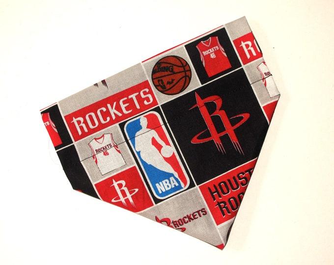No-Tie, Slip Over Collar Pet Bandana, Houston Rockets (Collar Not Included)