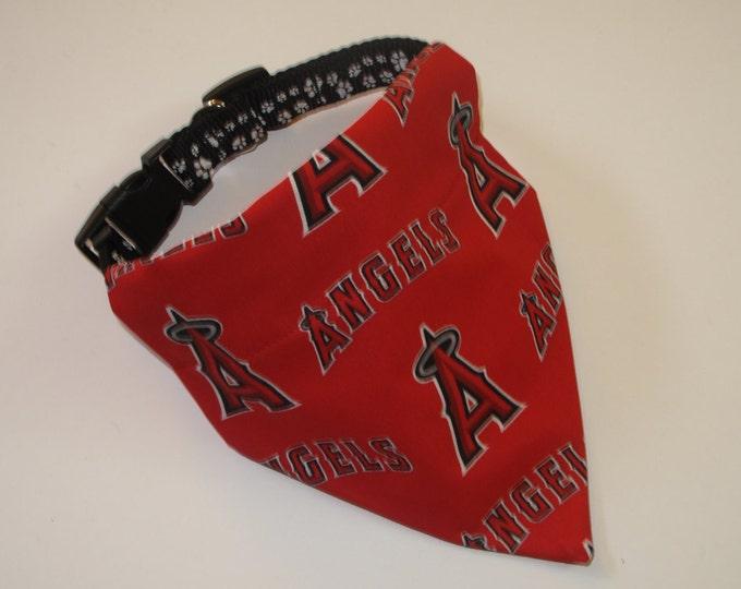 No-Tie, Slip Over Collar Dog Bandana, LA Angels Fabric
