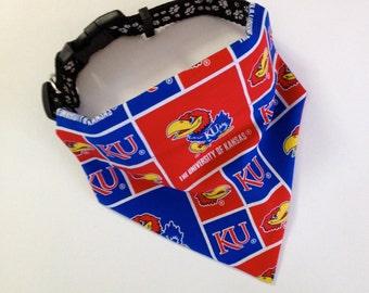 No-Tie, Slip Over Collar Dog Bandana, The University of Kansas, Classic Square Team Fabric (collar not included)