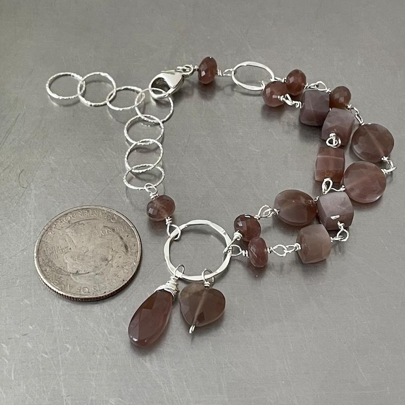 Chocolate Moonstone Sterling Silver double strand adjustable bracelet