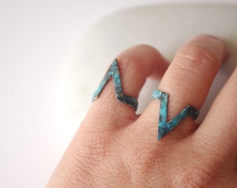 Items similar to Set of 2 Gold chevron knuckle ring, midi ring, stacking thin ring on Etsy