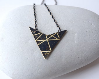 Triangle charm necklace, black and gold stripes necklace, contemporary charm, minimalist triangle charm
