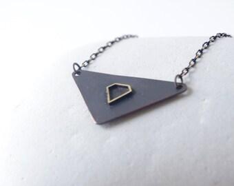 Triangle charm necklace, brass diamond necklace, contemporary charm, minimalist triangle charm