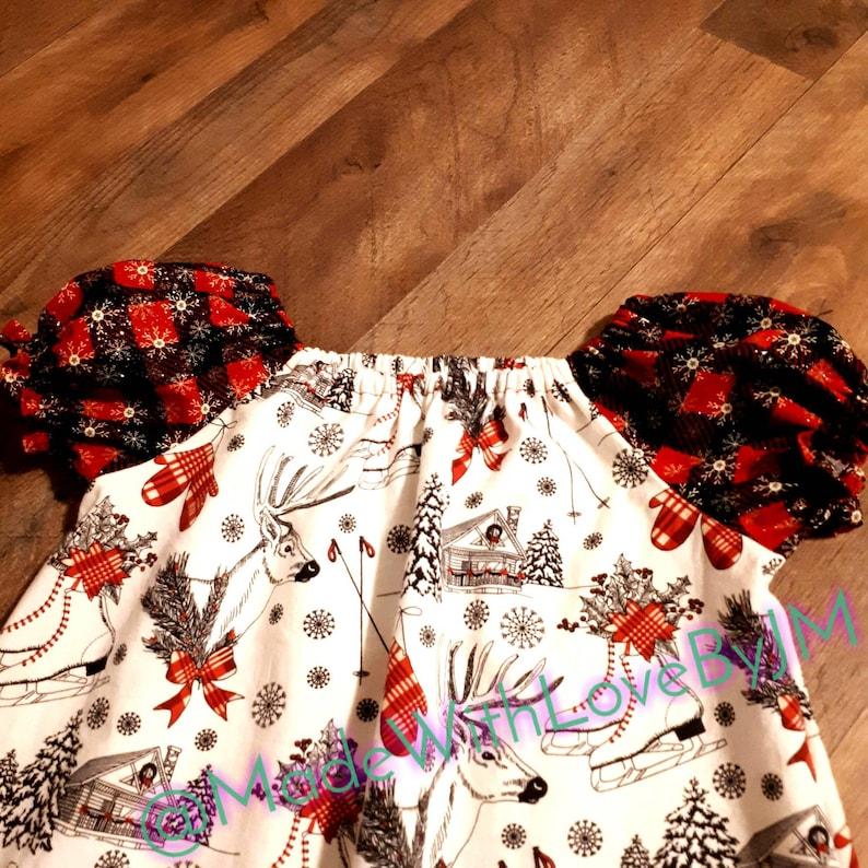 Christmas peasant tunic dress\u300bParty dress \u300b Girls adorable tunic\u300b Tea party dress \u300bHoliday wear\u300b Christmas clothes \u300b Girly holiday fashion