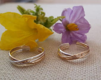 Double Cross Toe Rings Sterling Silver, 14Kt Gold Filled, Rose Gold Filled, Mixed Metal
