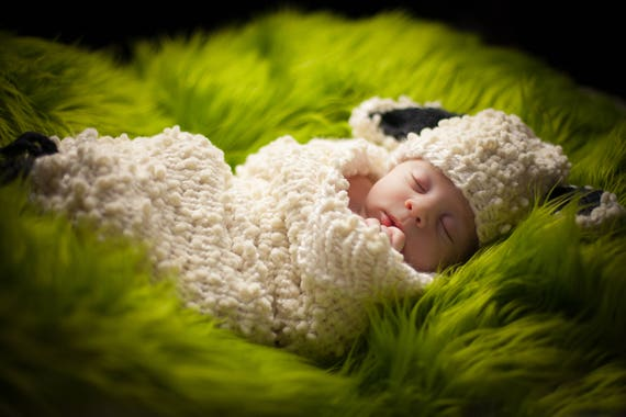 Loom Knit Newborn Cocoon Pattern Sheep Lamb Cocoon And Hat Etsy