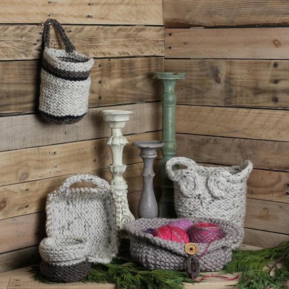 Loom Knit Basket Patterns Owl Basket Bread Basket Yarn Etsy