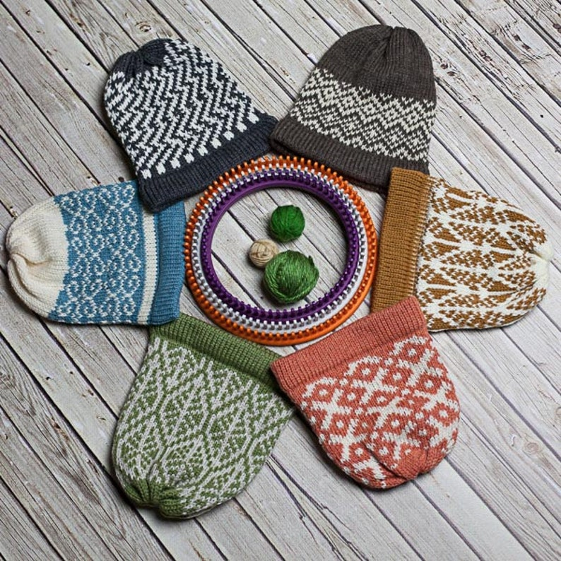 ac34d7d1f5fa8 Loom Knit Fair Isle Hat Pattern Collection. 6 Fair Isle Hat
