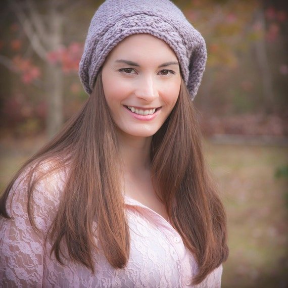 Loom Knit Beret Pattern With Cable Brim Ladies Hat Painters Etsy