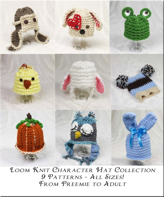 Loom Knit Character Hat Pattern Collection 9 Adorable Etsy