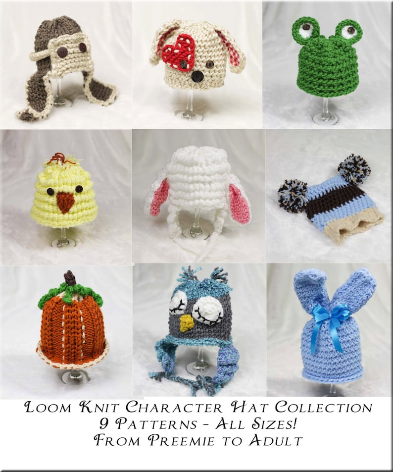 92dc72e2778 Loom Knit Character Hat PATTERN Collection 9 Adorable