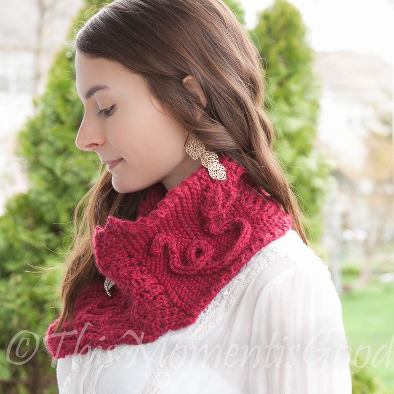 a62c726865ae0 Loom Knit Cowl PATTERN with Rose detail Scarf Shawl Lace image ...