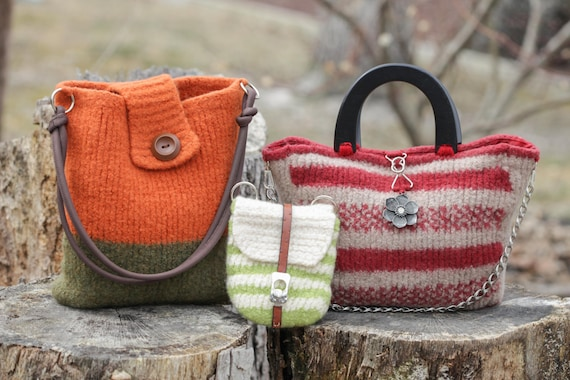Loom Knit Handbag Patterns Loom Knit Purse Loom Knit Tote Etsy