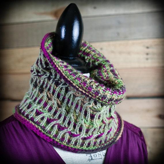 Loom Knit Brioche Cable Cowl Pattern Neckwarmer Scarf Fancy Etsy