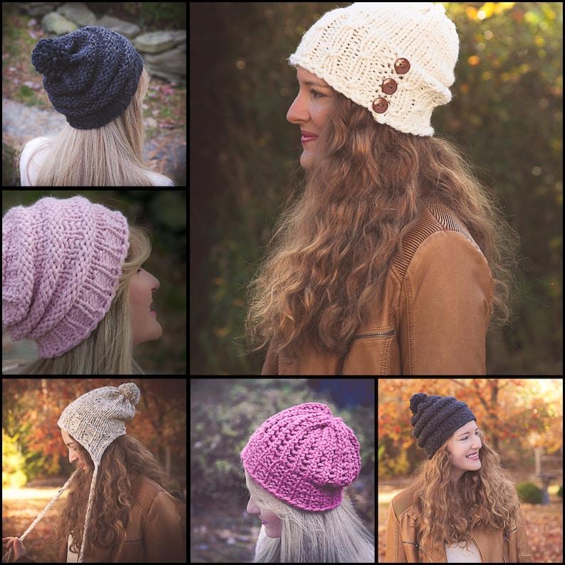 0c09d70f70d Loom Knit Bulky Hat PATTERNS Earflap Hat Lace Eyelet