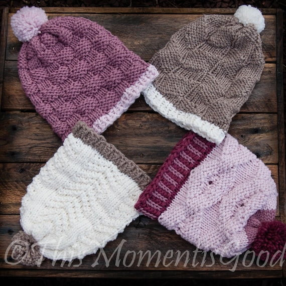 Loom Knit Hat Collection 1 Pattern Set 4 Patterns Included Etsy