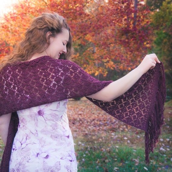 Loom knit lace shawl PATTERN Wrap wedding shawl lace | Etsy
