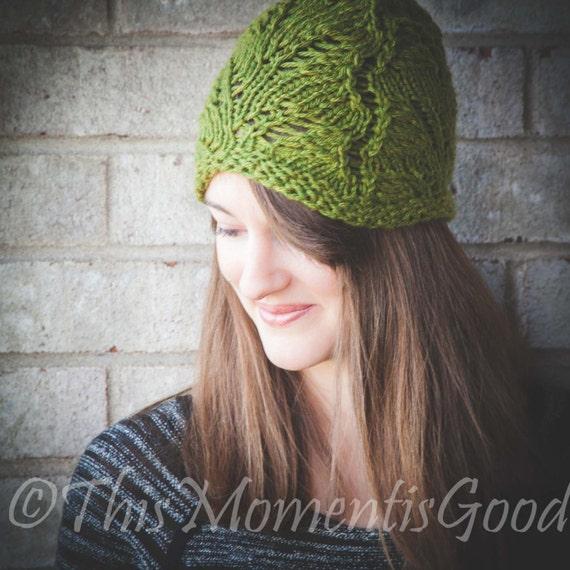 Loom Knit Lace Hat PATTERN. Fern Lace Hat Lightweight Lace Hat | Etsy
