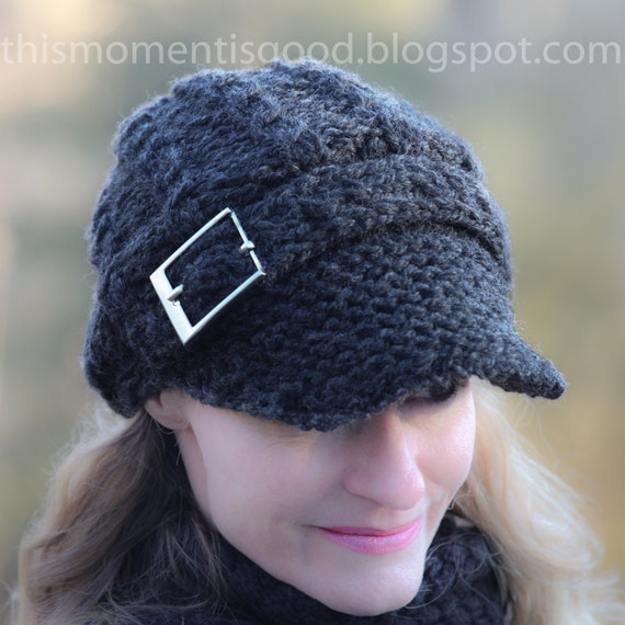 Loom Knit Newsboy Cap With Mock Cables And Buckle Pattern Etsy