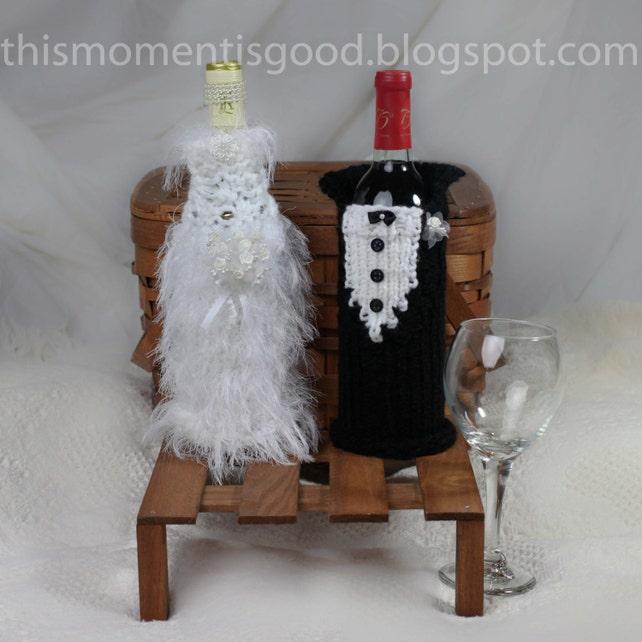 Loom Knit Wine Bottle Cover Pattern Bride Groom 2 Etsy