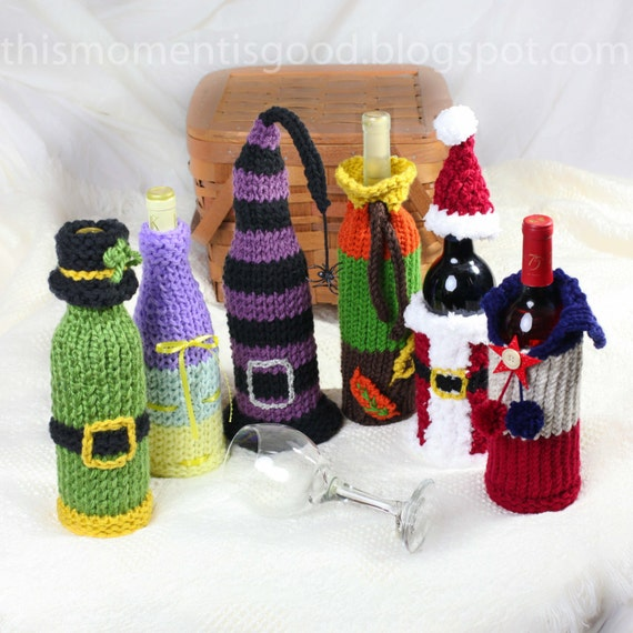 Wine Bottle Covers Loom Knitting Pattern Six Unique Holiday Etsy