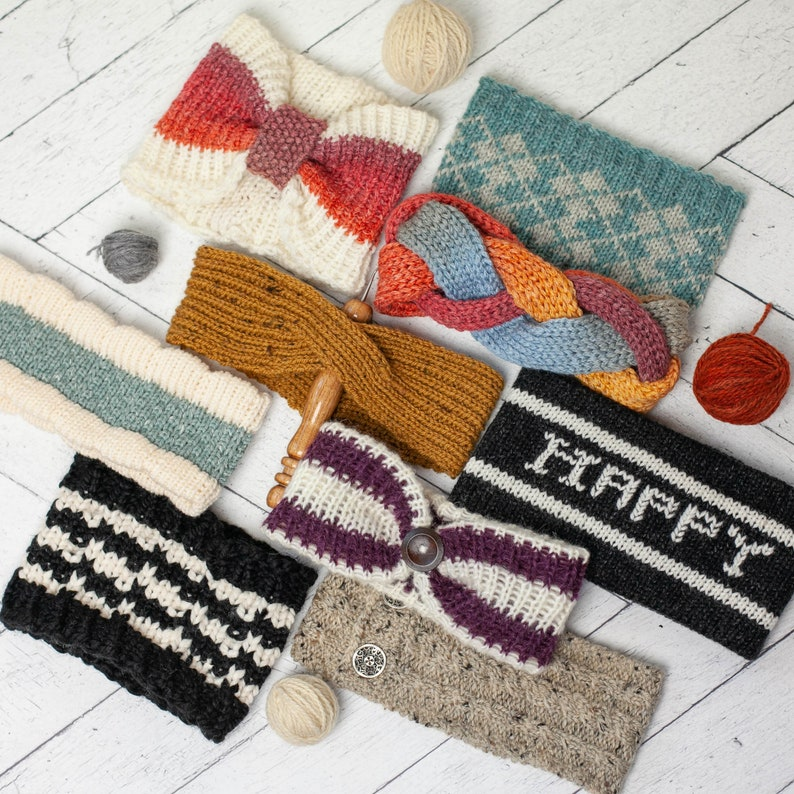 a5a8932372f0c Loom Knit Headband Earwarmer Collection I. (10) PATTERNS Included for Fair  Isle
