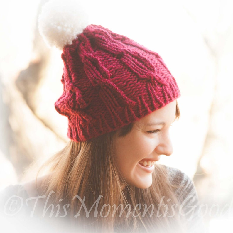24ae15abc3b Loom Knit Lace Cable Hat PATTERN. The perfect unisex cable hat
