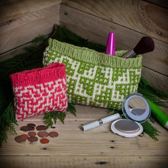 Loom Knit Change Purse Wallet Make Up Bag Wristlet Credit Etsy