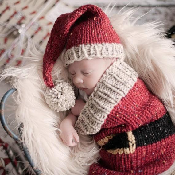 Loom Knit Santa Christmas Cocoon and Santa Hat Pattern. Make | Etsy