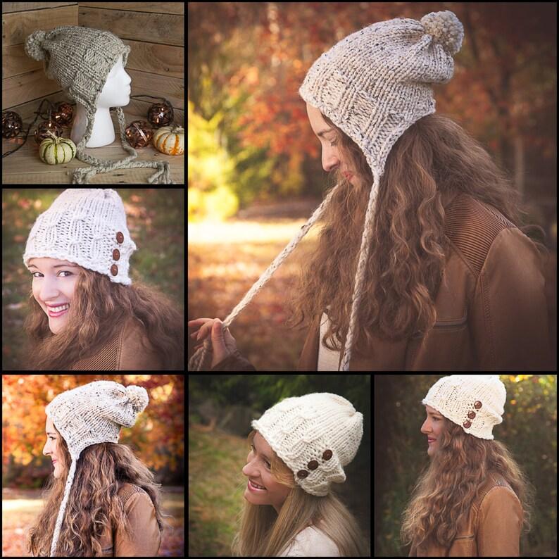 0541813d3b1 Loom Knit Bulky Hat PATTERNS Earflap Hat Lace Eyelet
