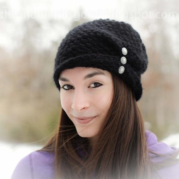 Loom Knit Ladies Folded Brim Hat Pattern Loom Knit Winter Hat Etsy