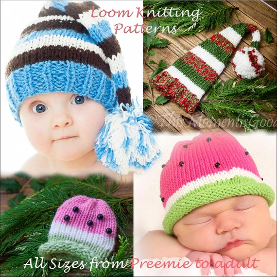 Loom Knit Elf Watermelon Hat PATTERNS 60 Hat PATTERNS In All Etsy Amazing Round Loom Knitting Patterns