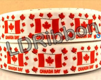 "7/8"" Canada Day Grosgrain Ribbon"