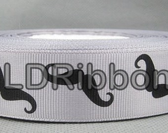 "1"" Silver Moustache Grosgrain Ribbon"