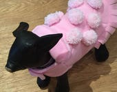 Pink pom pom polar fleece coat Chihuahua pUg Puppy hand made in the UK