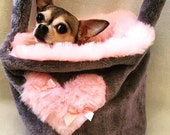 Luxury faux fur pouch carriers Chihuahua Yorkie puppy