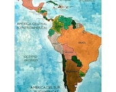 Items similar to Spanish Language Map Puzzle of Central and South ...