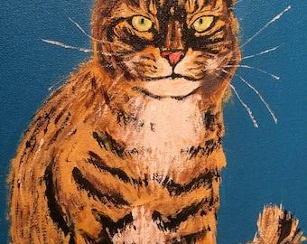 Acrylic painting of tabby cat called grumpy cat