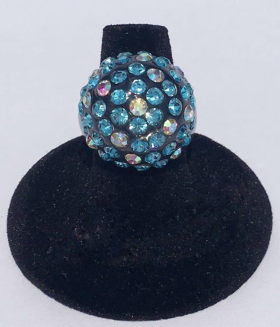 Lucite Rhinestone Ring Vintage 50s Light Blue AB A